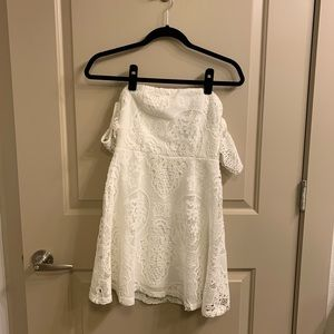 Strapless White Lacy Dress forever21